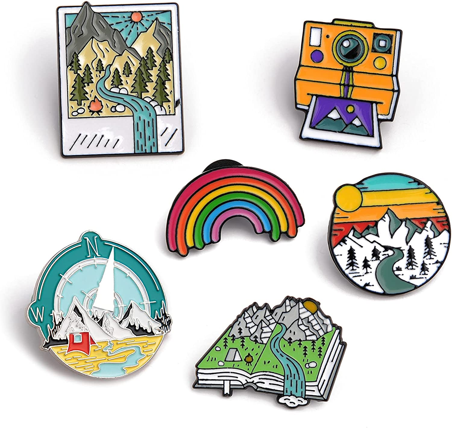 Novelty Outdoors Enamel Lapel Brooch Pin Set, Hiking Memorial Metal Assorted Lapel Pins Accessories Decorative Badges for Backpacks, Cute Jewelry Gift