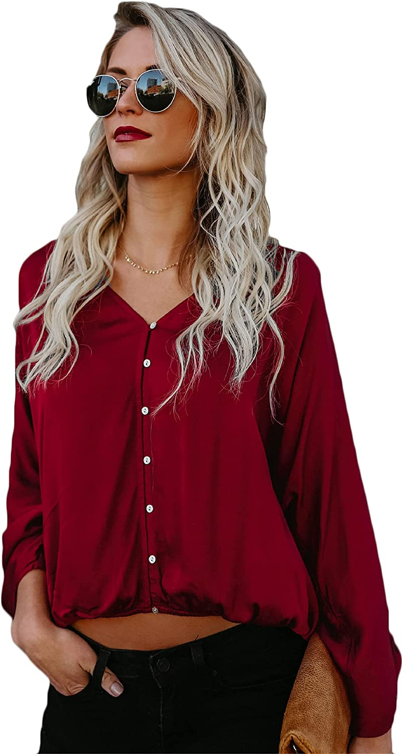 Andongnywell Women's Solid Color Long Sleeve V Neck Blouses Tops Button Down Business Shirts Loose Shirt