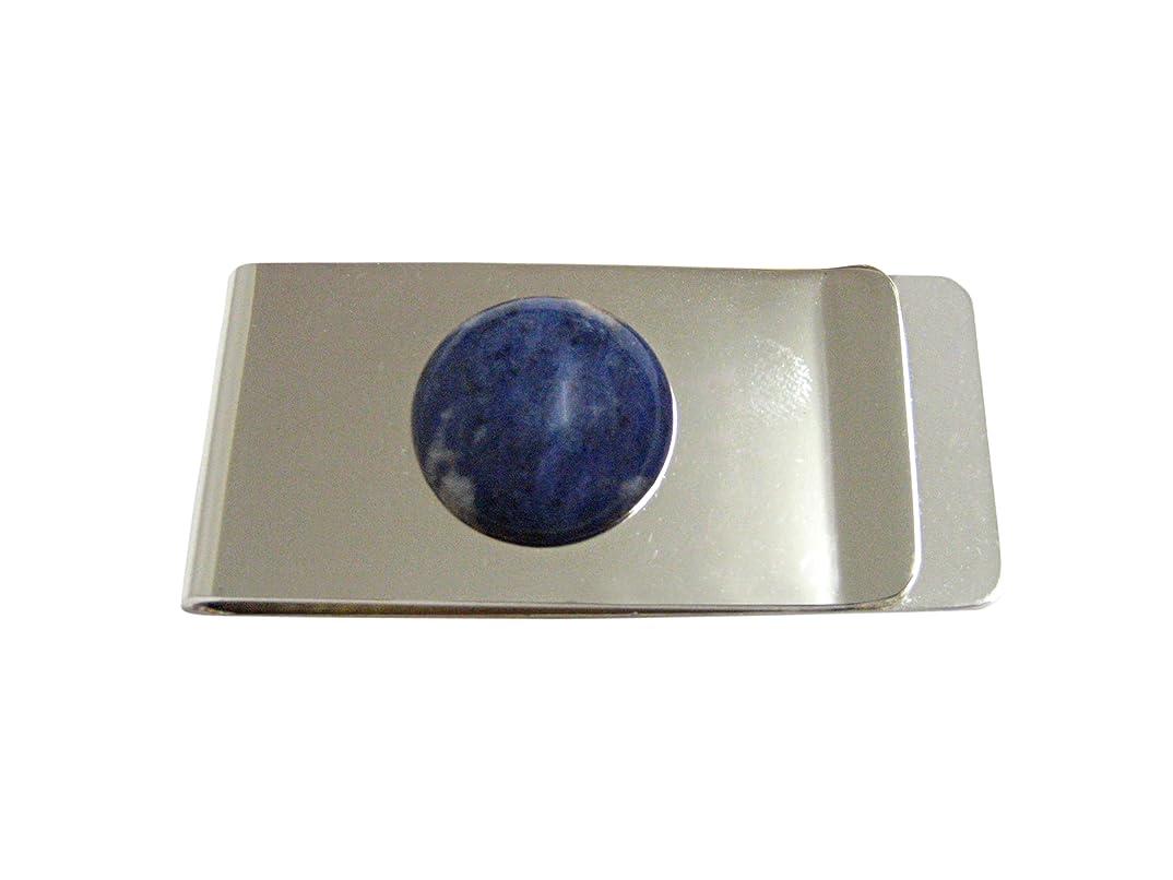 ステーキ金属保証ラウンドブルーSodaliteお金クリップ
