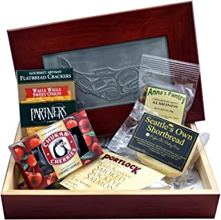 Smoked Salmon Gift Box with Salmon, Crackers, Almonds, Shortbread and Chocolate Covered Cherries