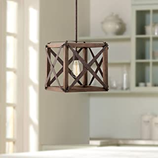 """Oaklyn 13"""" Wide Rust and Brown Wood LED Pendant Light - Franklin Iron Works"""