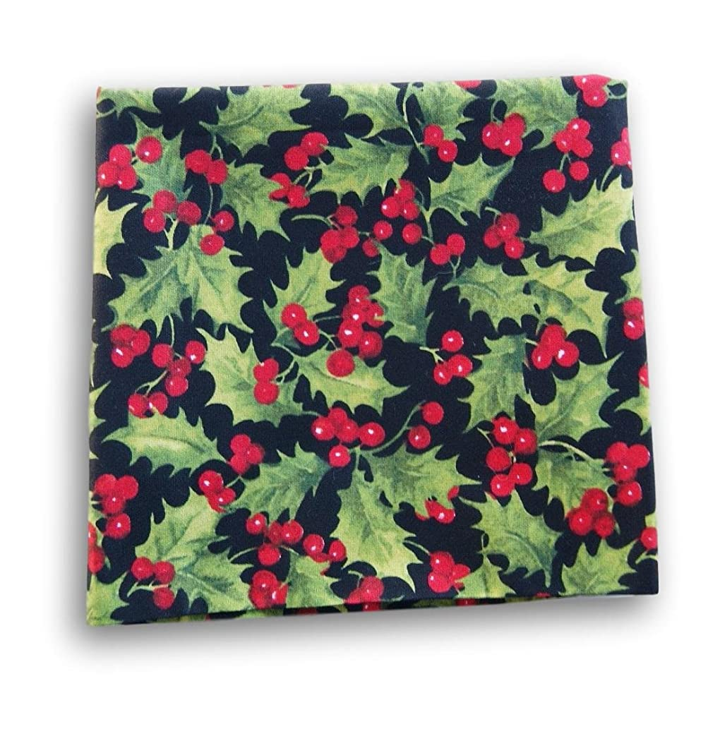 Black Red Green Fat Quarter Craft Fabric Piece (Holly Berry Leaves)