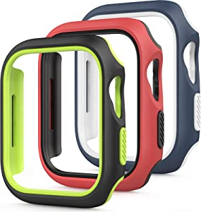 Amzpas 3 Pack Compatible for Apple Watch Case 44mm Series 6 5 4 SE, Double-layer Color can be Replaced Freely Case Protective Cover Frame Compatible for iWatch 44mm(Blue/white, Black/green, Red/black)