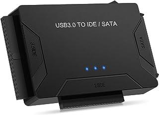POSUGEAR Adaptador de USB 3.0 a IDE y SATA Adaptador para 2.5 y 3.5 Plugadas Disco Duro IDE SATA Conversor para Windows XP/Vista/7/8 (12V Adaptador de Corriente Incluido)