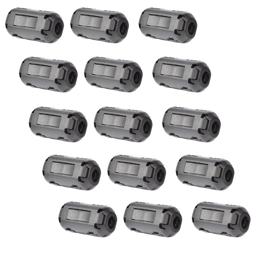 Bluecell Pack of 15 Magnetic Ferrite Core Cord RFI EMI Noise Suppressor Cable Clip (5mm inner diameter)