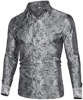 Allthemen Men's Paisley Shirt Jacquard Silk Shirts for Men Dress Shirts Long Sleeve Button Down Collar Casual Tuxedo Shirts