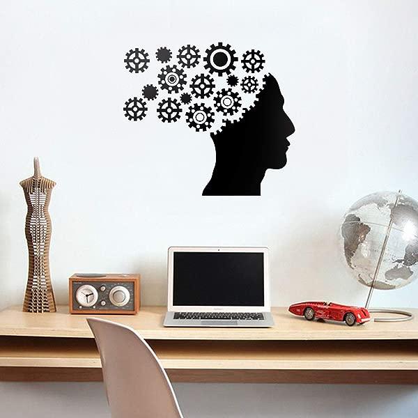 乙烯基墙艺术贴花齿轮大脑 20x23 现代工程师机械齿轮图形形状家居客厅公寓壁橱卧室工作宿舍办公室装饰
