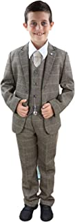House Of Cavani Boys 3 Piece Suit Brown Tweed Check Peaky Blinders Vintage Kids Classic 1920s