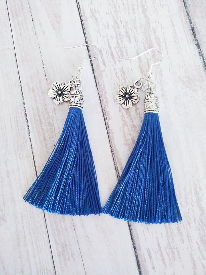 Gorgeous Silky Rich Deep Sapphire Blue Tassel Dangle Sterling Silver Earrings