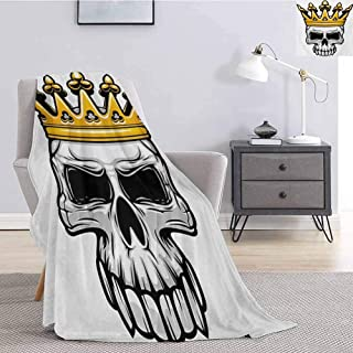 Luoiaax King Children's Blanket Hand Drawn Crowned Skull Cranium with Coronet Tiara Halloween Themed Image Lightweight Soft Warm and Comfortable W60 x L70 Inch Golden and Pale Grey