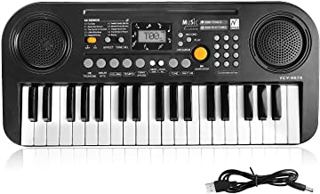 TWFRIC Kids Piano Keyboard, 37 Keys Dual-Speakers Piano for Kids LCD Screen Display Portable Keyboard 2019 Newest Piano Keyboards Music Educational Toy for Boys Girls Child (Black)