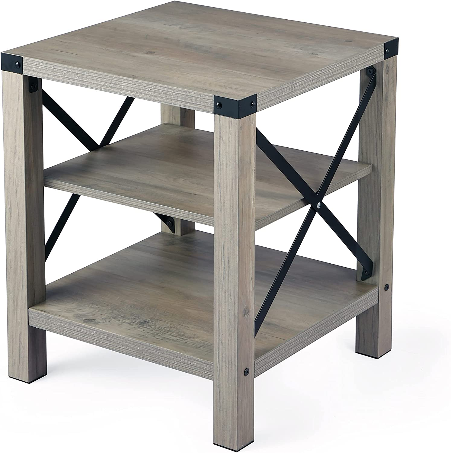 IDEALHOUSE Rustic End Table, Farmhouse Accent Cocktail Table Storage Shelf, Industrial Wood Look Tea Table, Sofa Center Table for Living Room, Side Table with X Metal Frame (End Table)