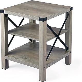 IDEALHOUSE Rustic End Table, Farmhouse Accent Cocktail Table Storage Shelf, Industrial Wood Look Tea Table, Sofa Center Ta...