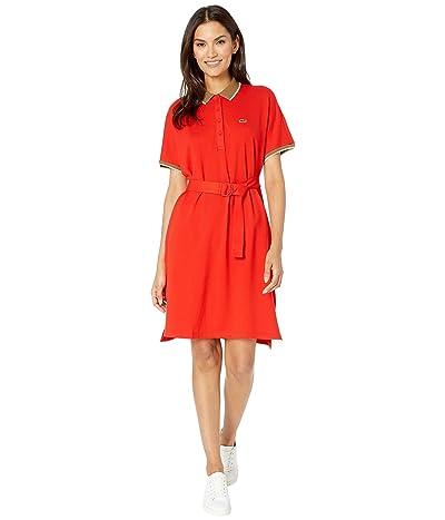 Lacoste Dolman Sleeve Semi Fancy Pique Polo Dress (Corrida/Leafy/Marten) Women
