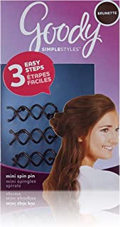 Goody Hair Simple Styles Mini Spin Hair Pin, Great for All Hair Types, Colors May Vary, Pack of 3 Pins