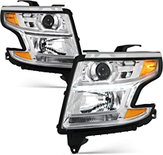 Fits 2015-2019 Chevy Suburban 15-19 Tahoe LED Projector Chrome Headlights [Halogen Type] w/Amber Signal Left+Right Pair