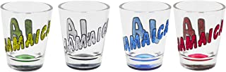 Shot Glasses JAMAICA GLITTER Novelty 4 COLORS 4 SET Holds 2 ounces Funny Shot Glass Vodka Rum tequila Makes a great souvenir or gift