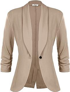 454c971500b iClosam Women's 3/4 Ruched Sleeve Blazer Open Front Lightweight Office  Cardigan Jacket