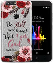 FINCIBO Case Compatible with ZTE Blade Z Max Z982, Shiny Sparkling Silver Bling Glitter TPU Silicone Protector Cover Case for ZTE Blade Z Max Z982/ Sequoia - Christian Bible Psalm 46:10