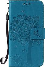 ISAKEN Funda para Samsung Galaxy S5, Cartera Fundas de PU Cuero Leather Wallet Case Carcasa Funda con Portátil Correa función de Soporte para Samsung Galaxy S5 / S5 Neo (Gato Árbol Azul)