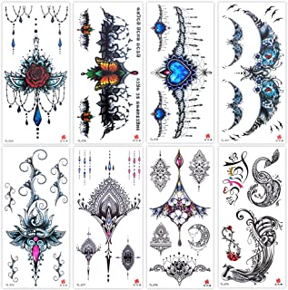 Lady Up 8 Sheets Temporary Tattoos for Women Girls Adult Fantasy Fake Tattoos Body Art Gothic Dark Style Rose and Jewels f...
