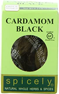 Spicely Organic Cardamom Pods Black Whole 0.20 Ounce ecoBox Certified Gluten-Free