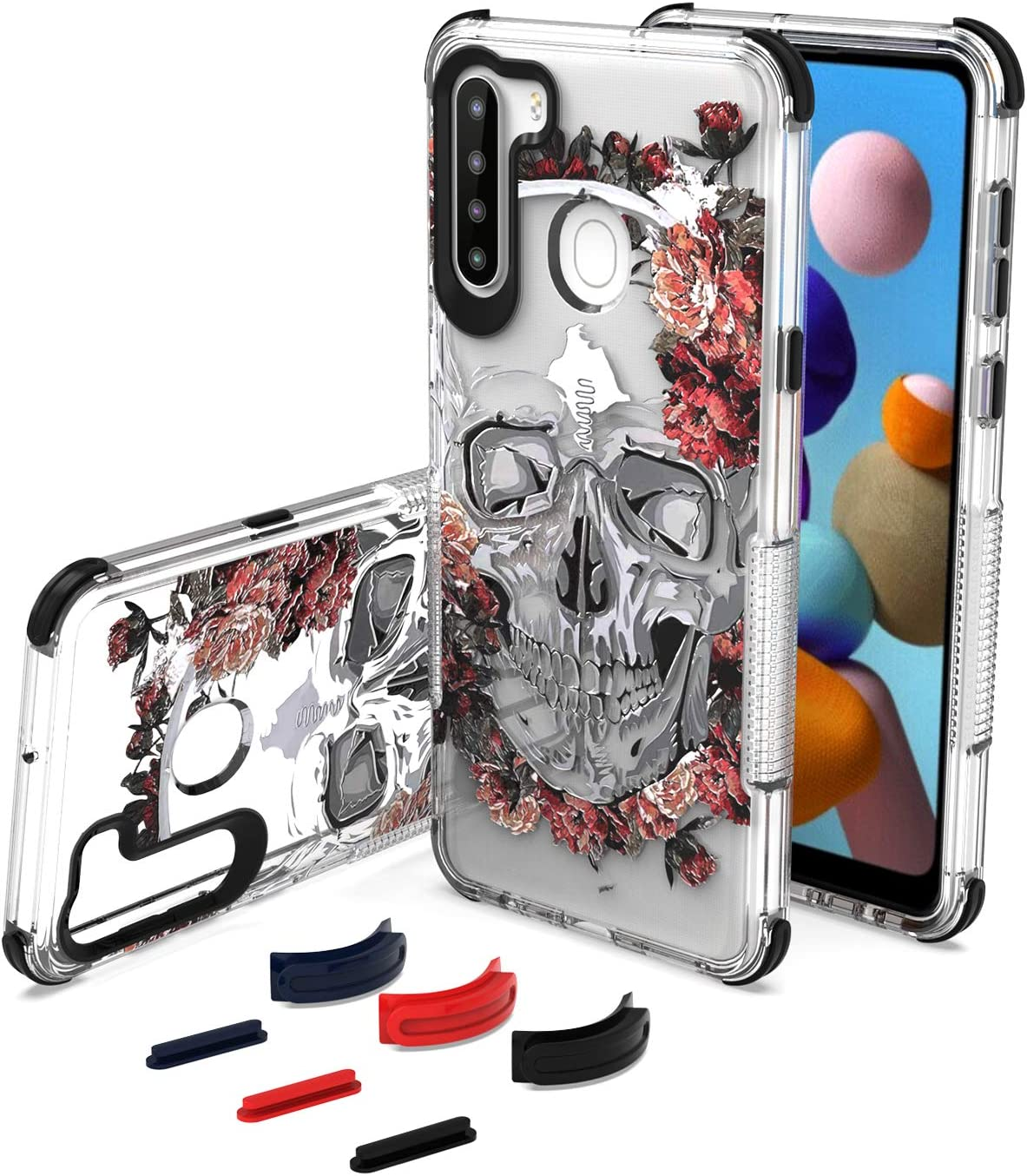 UNC Pro DIY Package Cell Phone Case for Samsung Galaxy A21, Replaceable Bumper & Key Buttons, Soft Clear TPU with 3D Dead Skull Hybrid Shockproof Cover for Women Girls Men