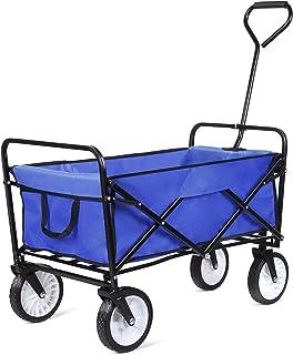femor Heavy Duty Garden Cart, Collapsible Folding Outdoor Utility Wagon for Shopping Beach Outdoors, Blue