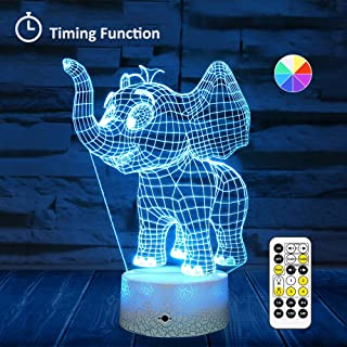 [Wall Adapter Included] Remote & Touch Control LED Elephant Night Light with Timer Dimmable Bedside Table Desk Lamp 7 Color Changing Nightlights for Nursery Kids Bedroom Living Room