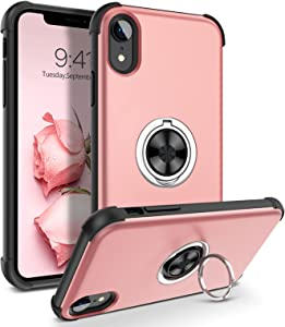 DOMAVER Compatible with iPhone XR Kickstand Case Invisible Ring Holder Rotation Heavy Bumper Duty Protective Slim Sleek Smooth Case with Security Easy Grip for iPhone 10 XR 6.1 inch - Rose Gold