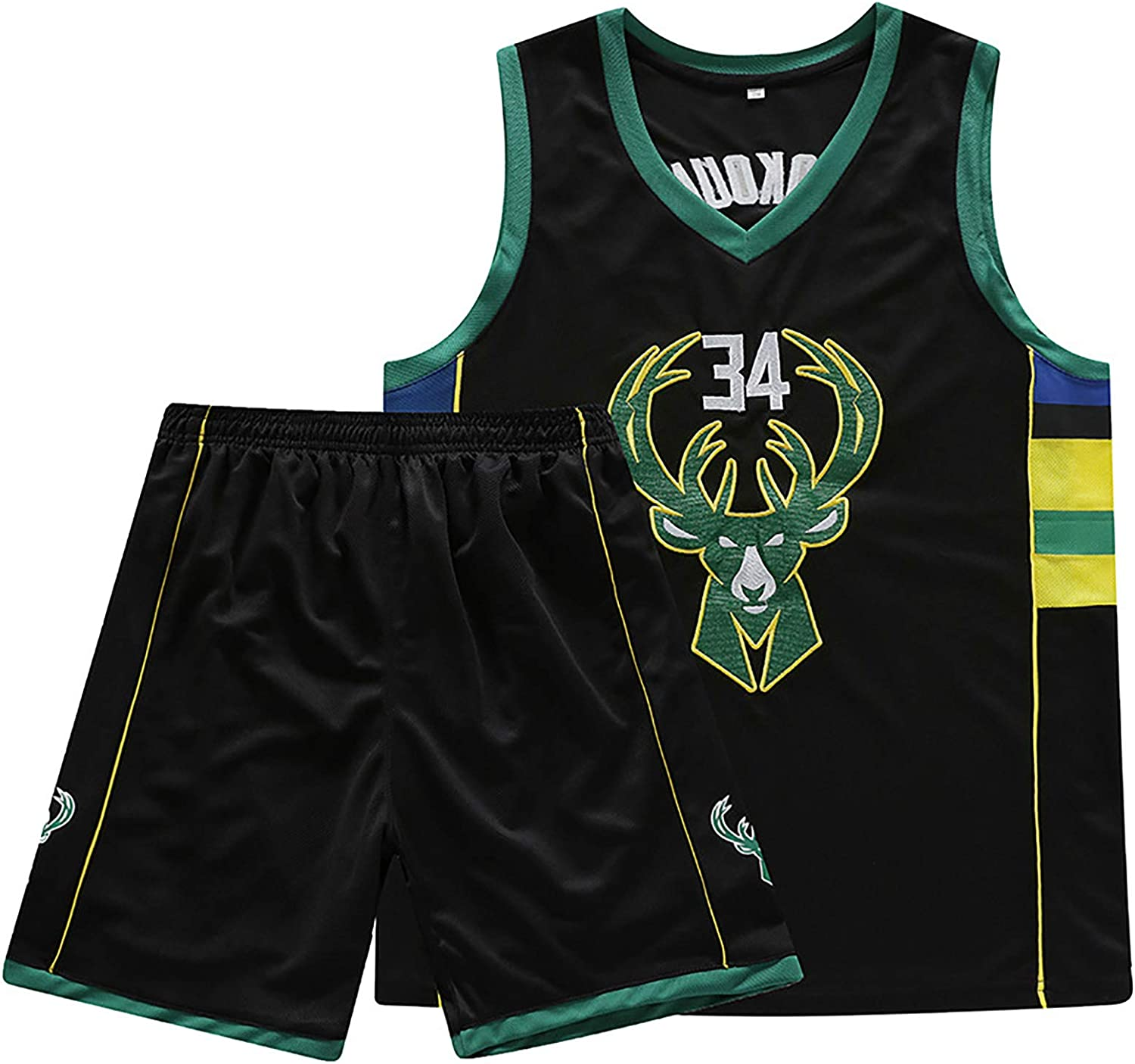 TYUIY Basketball Swingman Jersey,for Antetokounmpo Basketball Vest Shorts Suit,for Milwaukee 34 Embroidery Basketball Uniform,The Best Gift for Fans White-2XL