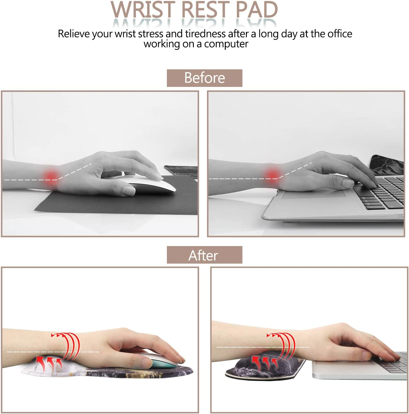 Easy-Typing and Pain Relief for Gaming Office Computer Laptop Black Marble HAOCOO Ergonomic Keyboard Wrist Rest Pad and Mouse Pad Wrist Support Set with Non-Slip Backing Memory Form-Filled