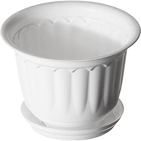 GARDENS NEED Jasmine Pot with Bottom Tray Set (10-inch, White, 3-Pieces)