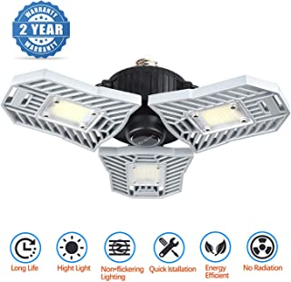 Garage Lighting, Deformable Garage Light 6000LM 60W Shop Lights for Garage, Led Garage Lights with 3 Adjustable Panels,Garage Ceiling Light for Workshop/Basement (No Motion Detection)