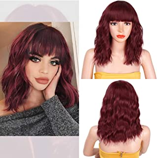 Perfume Lily Short Wave Synthetic Wigs with Air Bangs for Daily Use Cosplay Party Wigs HeatResistant Full Wigs for Women...
