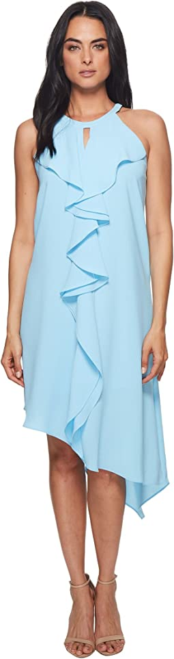 Double Ruffle Gauzy Crepe Dress