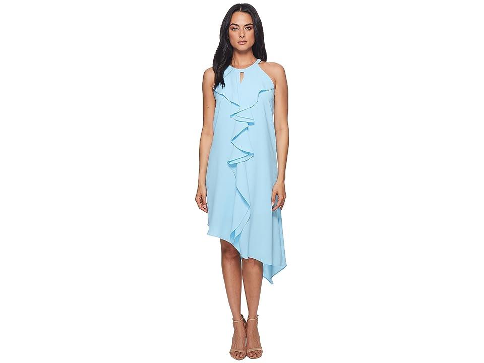 Adrianna Papell Double Ruffle Gauzy Crepe Dress (Azure Mist) Women