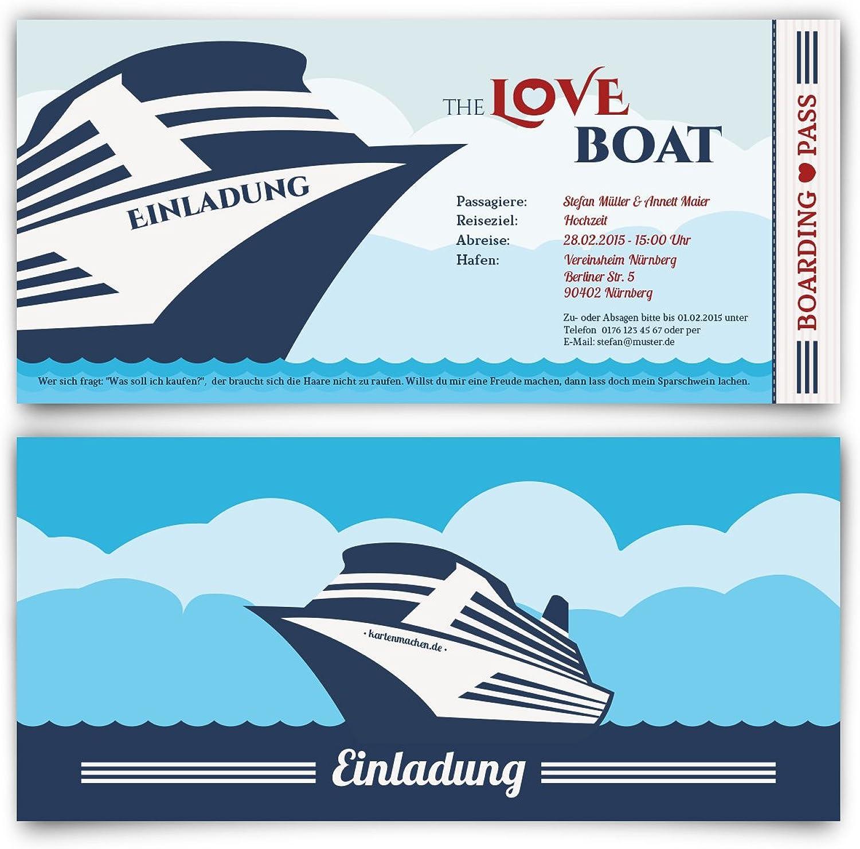 Einladungskarten zur Hochzeit (100 Stück) als Yacht Kreuzfahrt Ticket Stiefel Hochzeitskarten B00P2DYRKE  | Verschiedene aktuelle Designs