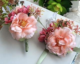Manga Dua Men`s Boutonniere Bridegroom Groom Wedding Boutonniere Wedding Prom Homecoming Flower Boutonnier+Corsage 4 Sets