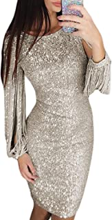 Womens Elegant Sequin Tassel Sleeve Bodycon Cocktail Party Midi Dress