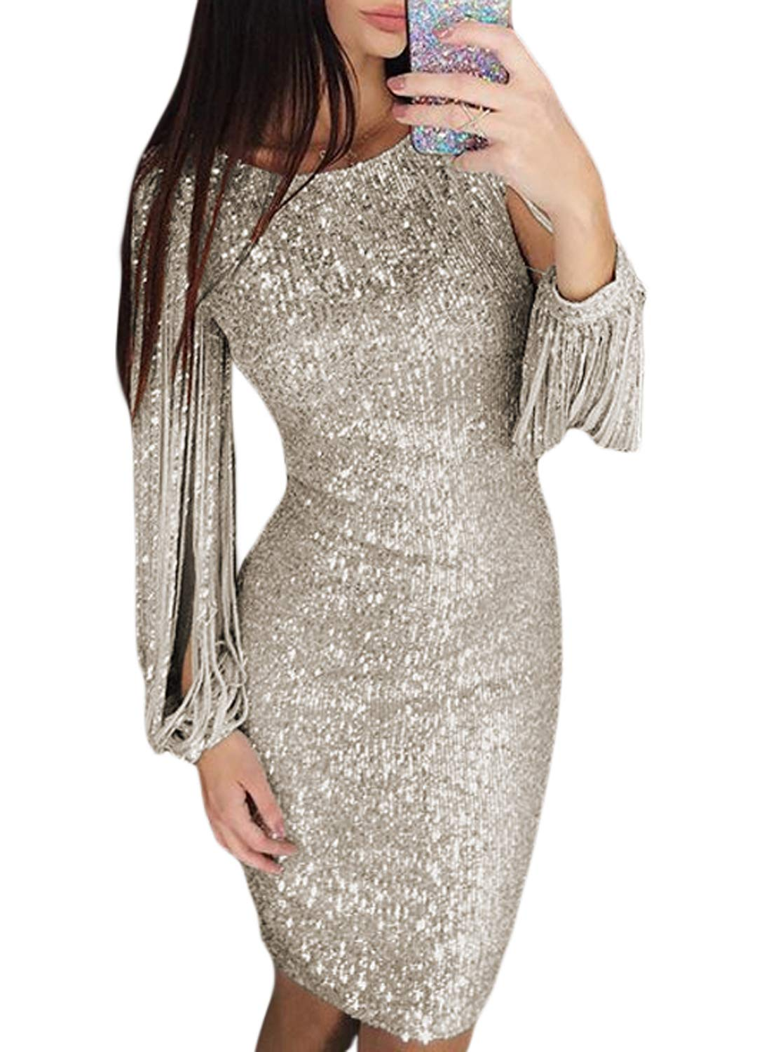 Party Dresses - Womens Elegant Sequin Tassel Sleeve Bodycon Cocktail Party Midi Dress