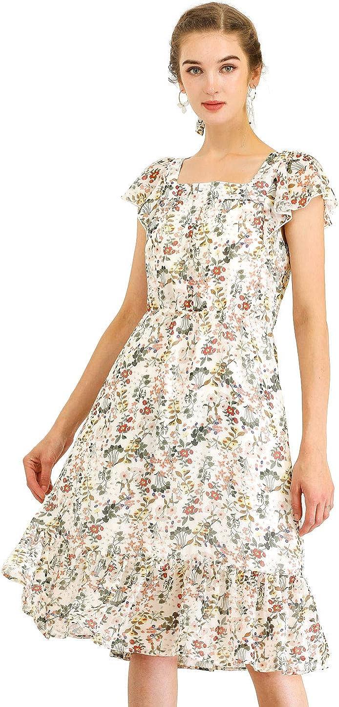 Allegra K Women's Floral Chiffon Flutter Sleeve Belted Square Neck Ruffled Hem Dress