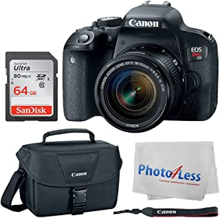 Canon EOS Rebel T7i Digital SLR Camera + Canon EF-S 18-55mm f/4-5.6 is STM Lens + Canon EOS Shoulder Bag (Black) + SanDisk Ultra SDXC 64GB 80MB/S Class 10 Flash Memory Card - Deluxe Canon Bundle