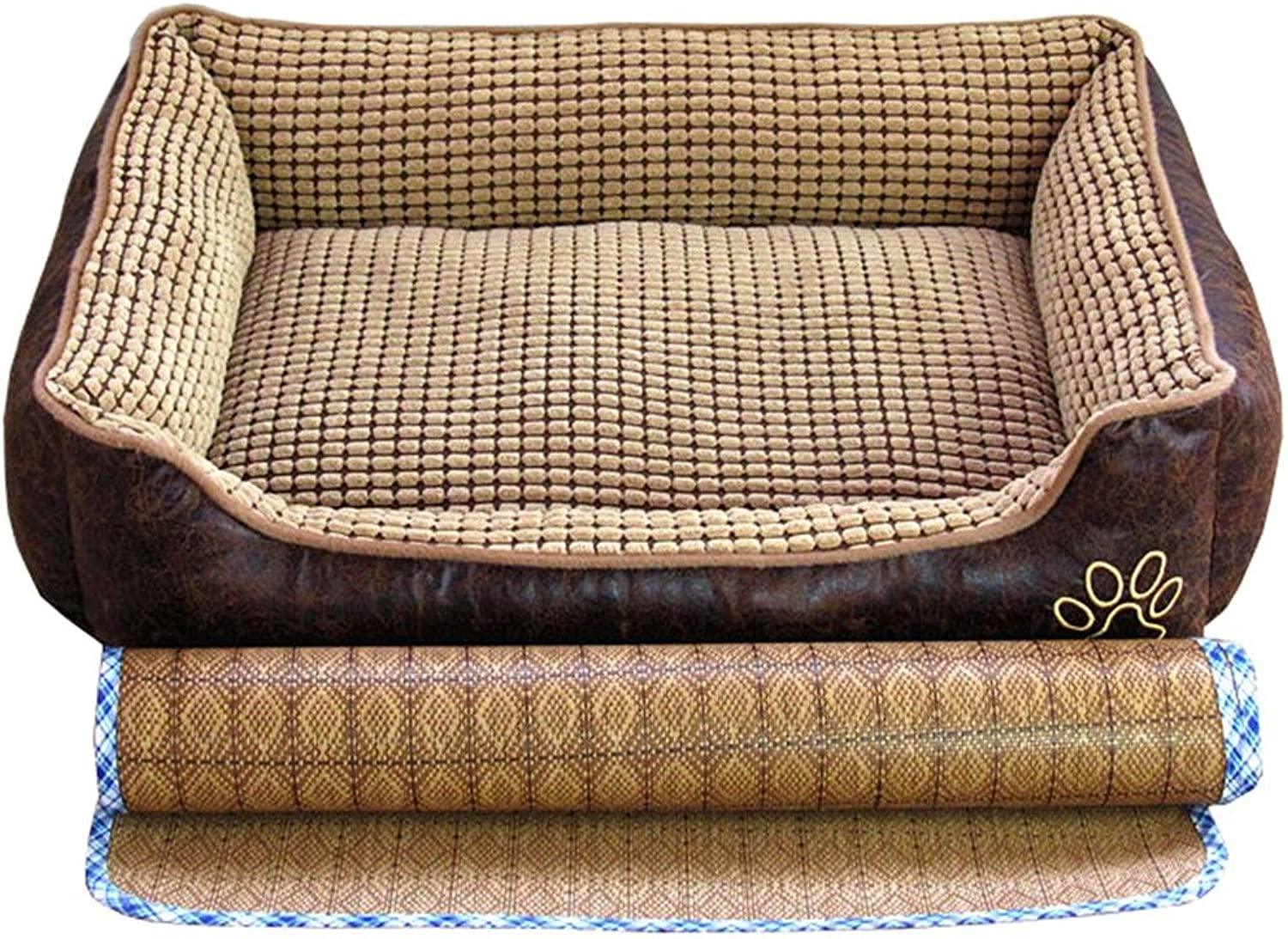 Dog Bed With Bamboo Mat For A Cool Summer, Durable Comfortable Materials Pet Thick Cushion, All Detachable Washable , coffee , xl
