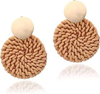 Rattan Earrings for Women Bohemia Handmade Geometric Straw Weave Knit Vine Drop Olive Leaf Earrings for Girl Statement Earring Party Jewelry as Mother's Day and Birthday Gift …