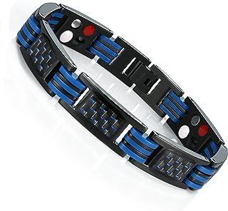 URBAN JEWELRY Men's Titanium Magnetic Link Bangle Bracelet with Carbon Fiber 8.66 inch (Black and Blue)