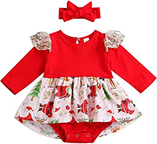 My First Christmas Baby Girl Clothes Red Tutu Sequins Tulle Princess Dress + Cute Bowknot Headband Skirt Set