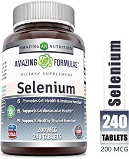 Amazing NutritionSelenium *200mcgNatural Selenium Yeast * 240 Tablets PerBottle *Promotes Cell Health, Immune Function, Cardiovascular Health and Healthy Thyroid Function and More.