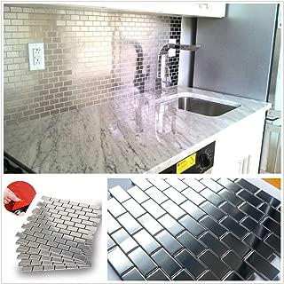 HomeyMosaic Subway Stainless Steel Surface Peel and Stick Tile Backsplash for Kitchen Bathroom Stove Wall Decor Metal Mosaic Tiles(12