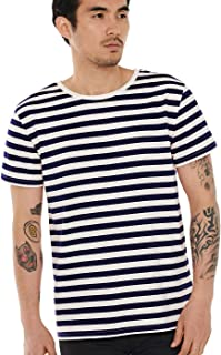 Zbrandy Striped Shirt for Men Horizontal Stripe T Shirt Top Tee Basic Pattern Cotton